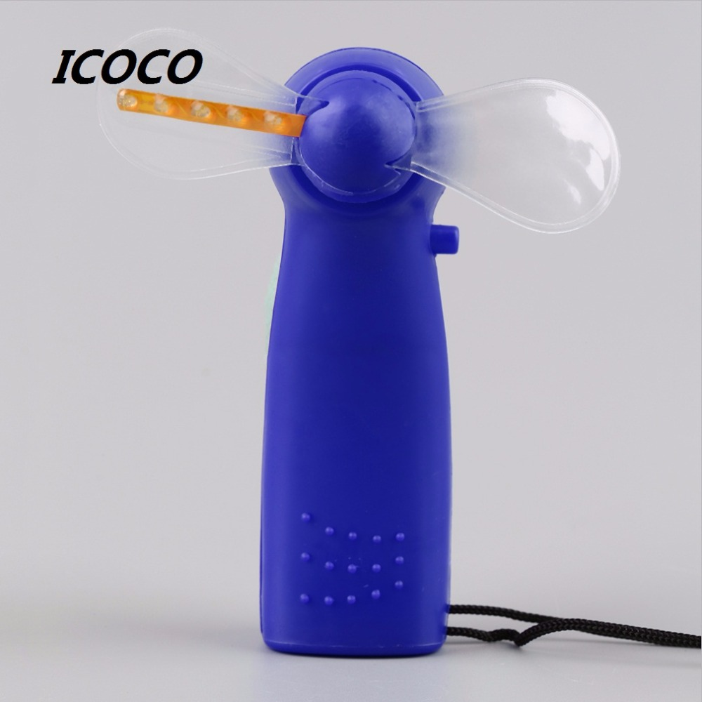 Portable Handheld Cooling Fan Colorful Led Mini Light Battery W Strap Kids Bedroom Atmosphere