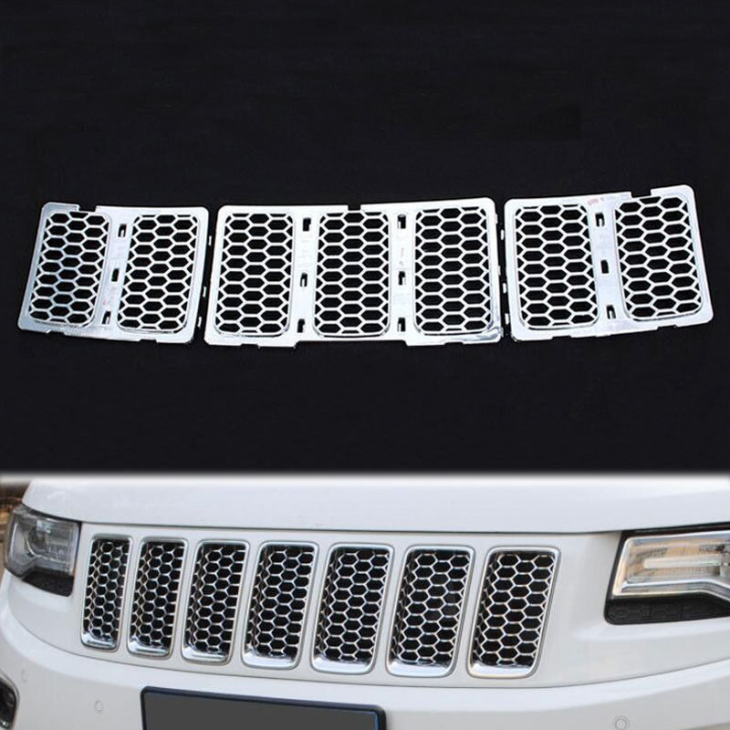 Chrome ABS Inserts Honey Comb Mesh Garnish Bezel Cover Trim Car Styling Fit For Jeep Grand Cherokee 14 Car Styling Accessories abs chrome front head light eyelid cover trim for jeep grand cherokee 2014 2015