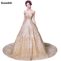 Bling Bling Gold Evening Dresses Long Sweetheart Applique sequined Floor Length Saudi Arabic Evening Gowns Women Formal Dresses