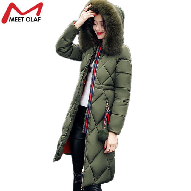 2017 New Fashion Hooded Larger Fur Collar Women Winter Jackets and Coats Female Cotton Padded Long Parkas Ladies Snowwear YL912
