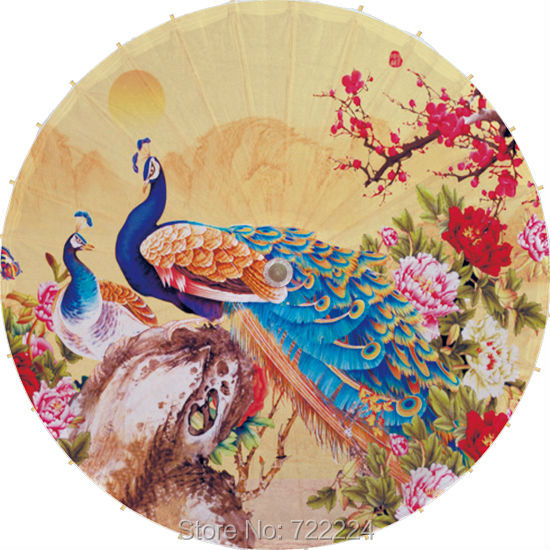Dia 84cm beautiful peafowl Oilpaper umbrella Chinese Handmade vintage classical waterproof parasol Cosplay oiled paper umbrella dia 84cm chinese handmade craft umbrella arya avalokiteshvara painting parasol decoration gift dance props oiled paper umbrella