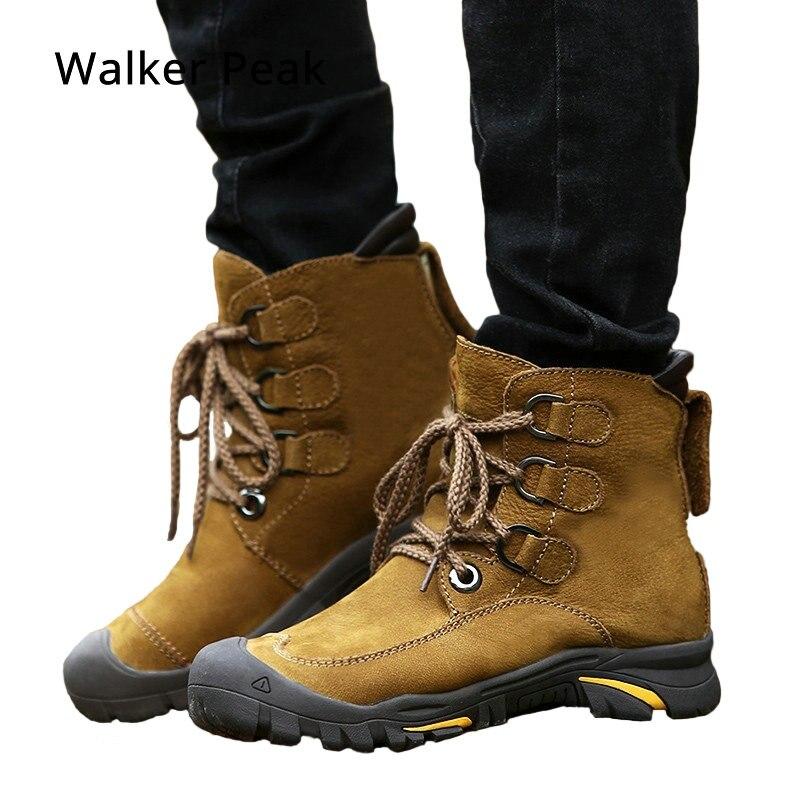 a4f65f70 Botas de invierno para hombre Botas de nieve de cuero genuino talla grande  38 49 zapatos de invierno abrigados al aire libre para hombres Anti Botas  frías ...