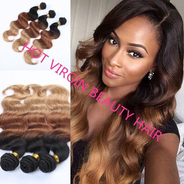8e182a792e5 US $199.0 |8A Ombre Hair Brazilian Virgin Hair Body Wave 3Pcs  Natural/#4/#27 Three Tone Ombre Brazilian Hair Weave Human Hair Extensions  on ...