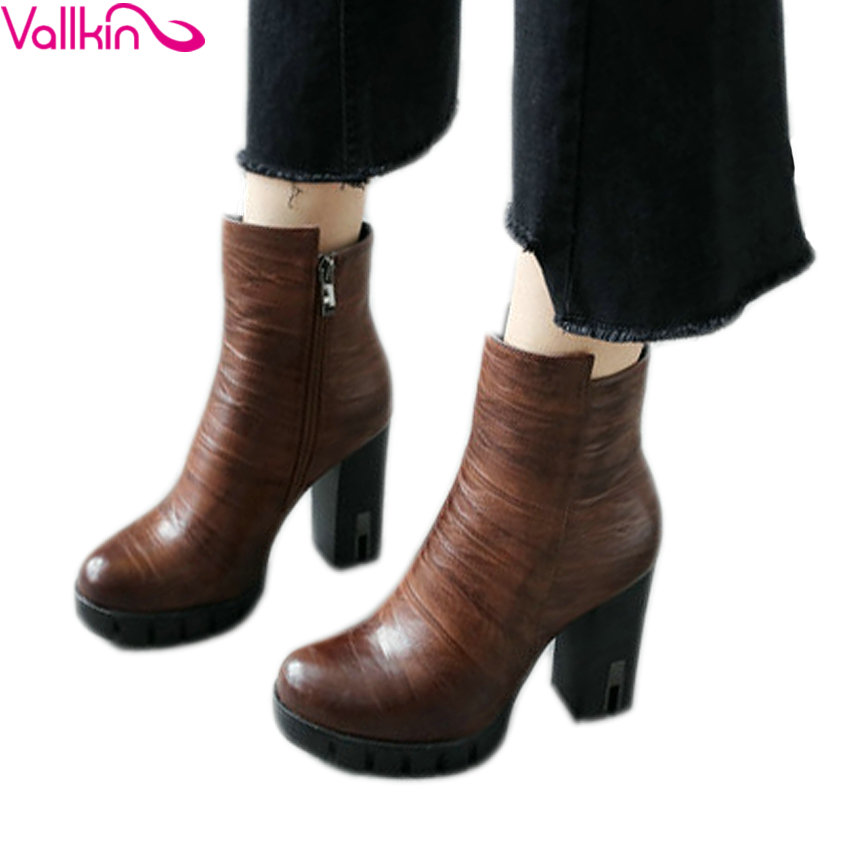 VALLKIN 2018 Platform Women Boots Zipper Fashion Ankle Boots Square High Heel Round Toe PU Autumn Winter Shoes Black Size 34-43 vallkin ankle rivets wedges women winter autumn boots for women platform shoes woman motorcycle size 34 43