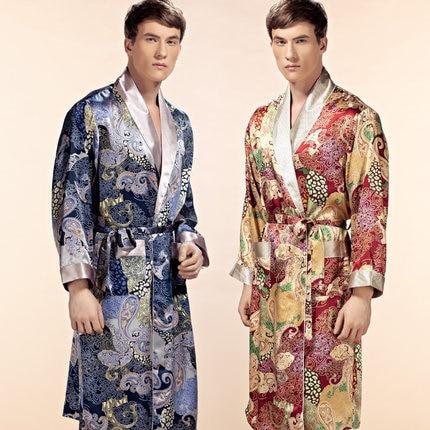 2016 new design Male silk satin long sleeve kimono sleepwear 100 ...