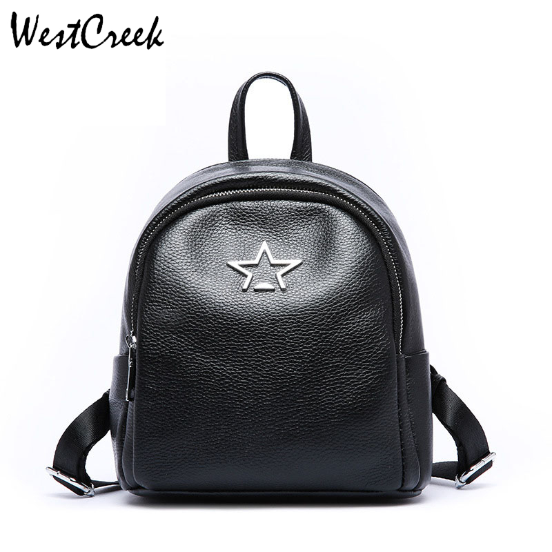 WESTCREEK Brand Women Genuine Leather Star Black Backpack Fashion Lady Mini  Travel Anti Theft Backpack Girls f754e0154c