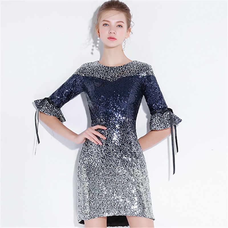 92c77713579b736 ... Это YiiYa коктейльное платье 2018 Половина рукава вечерние модные  дизайнерские Bling блестками Элегантные Короткие коктейльные платья ...