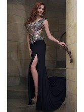 Crystal Sleeveless Long Black Prom Dresses Sexy Open Back Mermaid Vestido Formatura Longo Formal Chiffon Long Graduation Dresses