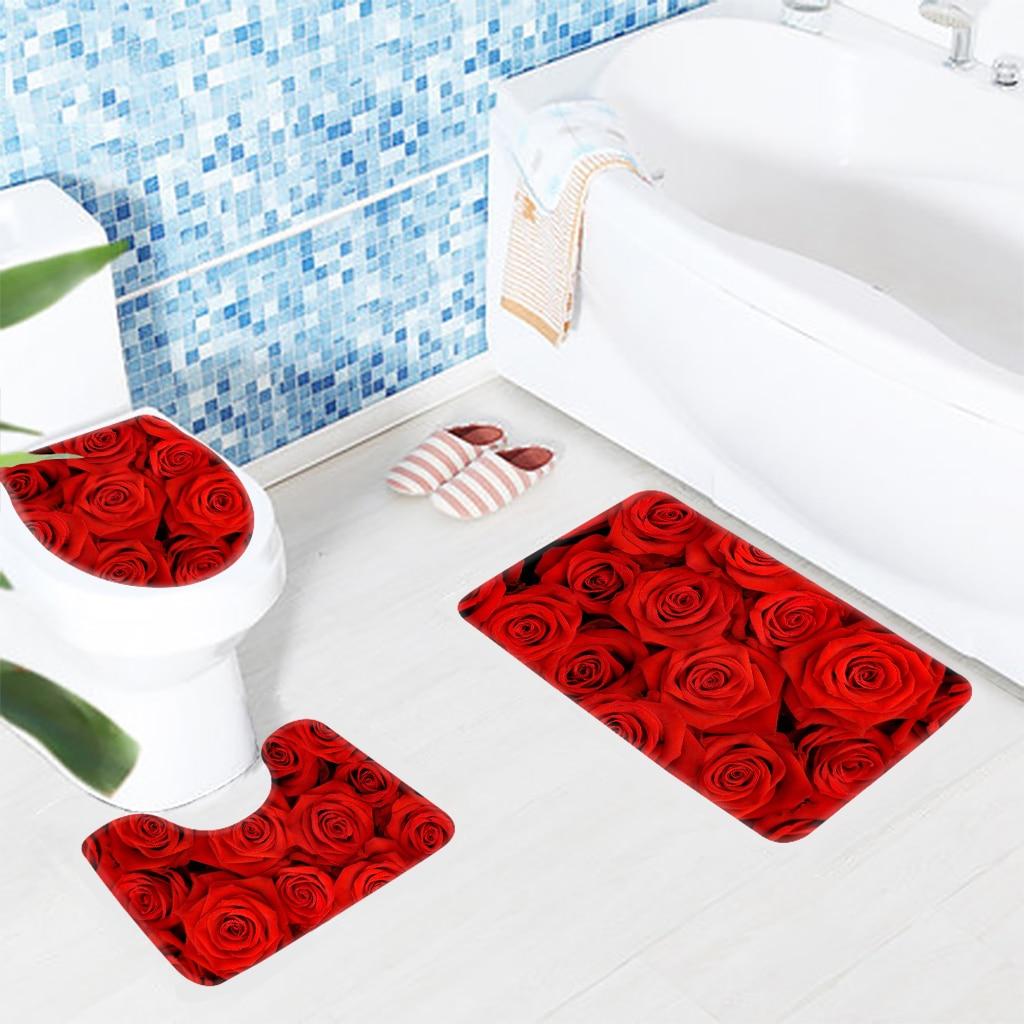 3pcs Bath Mat Set Red Rose Flowers Bathroom Rug Bathroom Anti Slip Shower Mat And Toilet Mat Sets