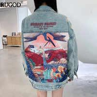 Rugod 2019 novo outono engraçado dos desenhos animados imprimir longo denim jaqueta feminina streetwear estilo punk jaqueta jeans vintage casaco feminino