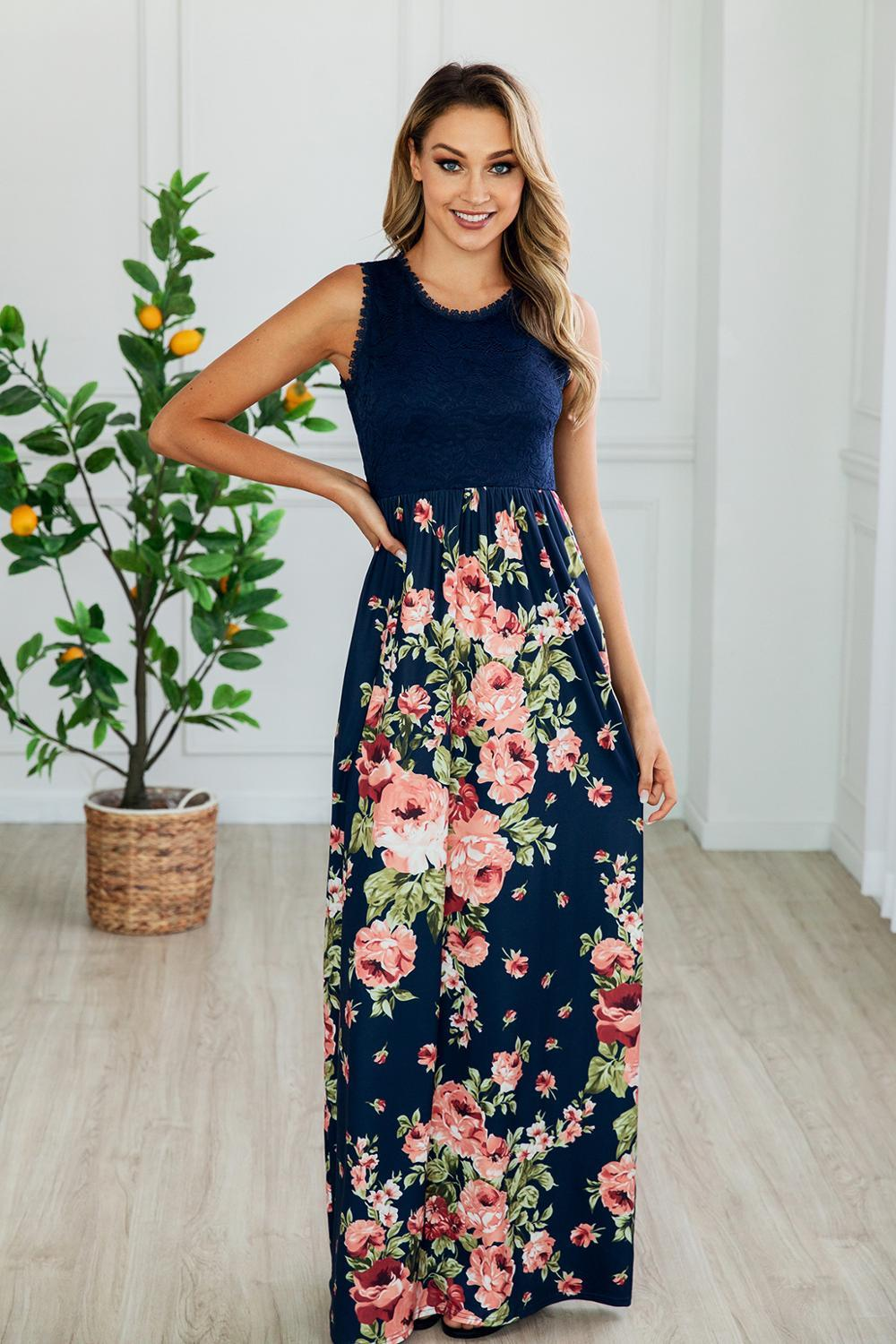 Women Maxi Dress Floral Print Long Summer Lace Dress Blue Party Night Dress Elegant <font><b>Vestidos</b></font> <font><b>Largos</b></font> De <font><b>Verano</b></font> Moda <font><b>Mujer</b></font> <font><b>2019</b></font> image