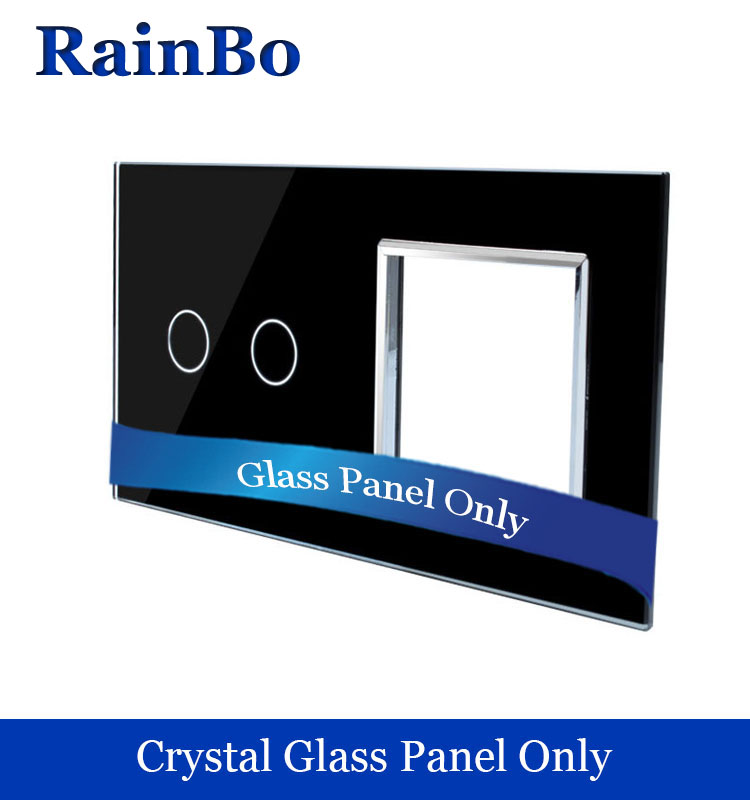 El envío gratuito lujo doble panel de cristal 2 marcos táctil 1 Gang panel de interruptor de pared 151mm * 80mm UE estándar DIY Accesorios