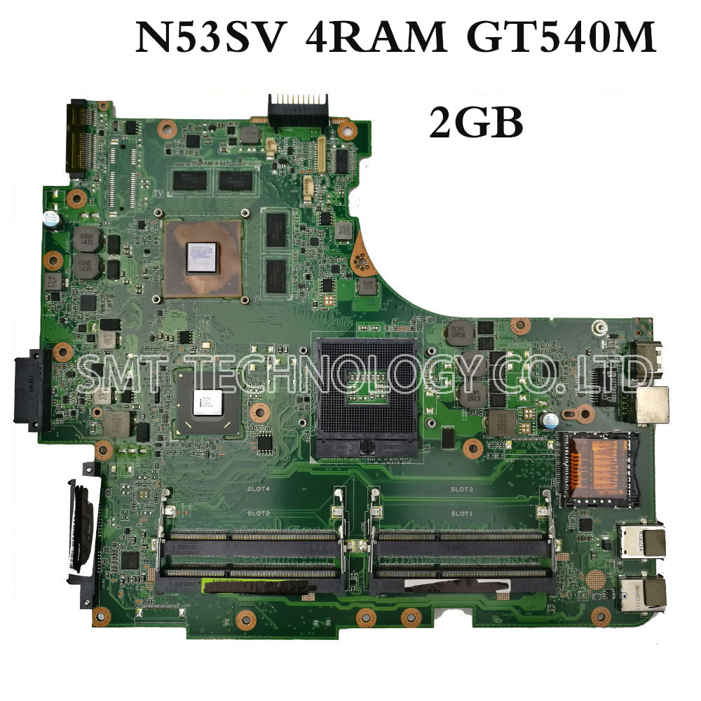Original for ASUS N53SV Motherboard N53S N53SN N53SM With 4 RAM SLOT GT540M 2GB Fully Tested Perfect g41 motherboard fully integrated core 775 cpu ddr3 ram belt 4 vxd ide usb 100% tested perfect quality