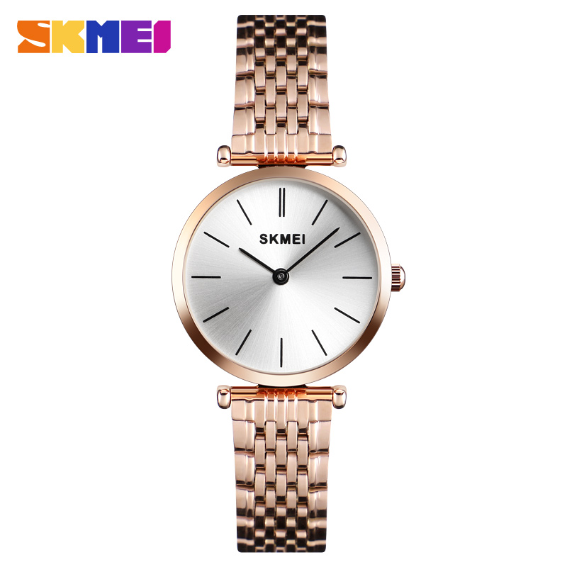 SKMEI Fashion Luxury Simple Ladies Watch Quartz Wristwatches 30bar Waterpoof Steel Strap Women Watches relogio feminino 1458