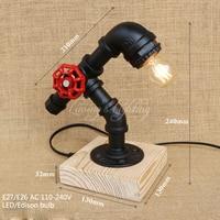 Vintage Retro Black Workroom Water Pipe Steam Punk Table Lamp Desk Led Lights Sconce For Bedroom Bedside Workshop Office