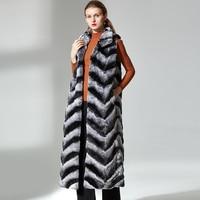 Real fur vest long rex rabbit fur coat women stand collar winter high quality real rex rabbit fashion chinchilla color
