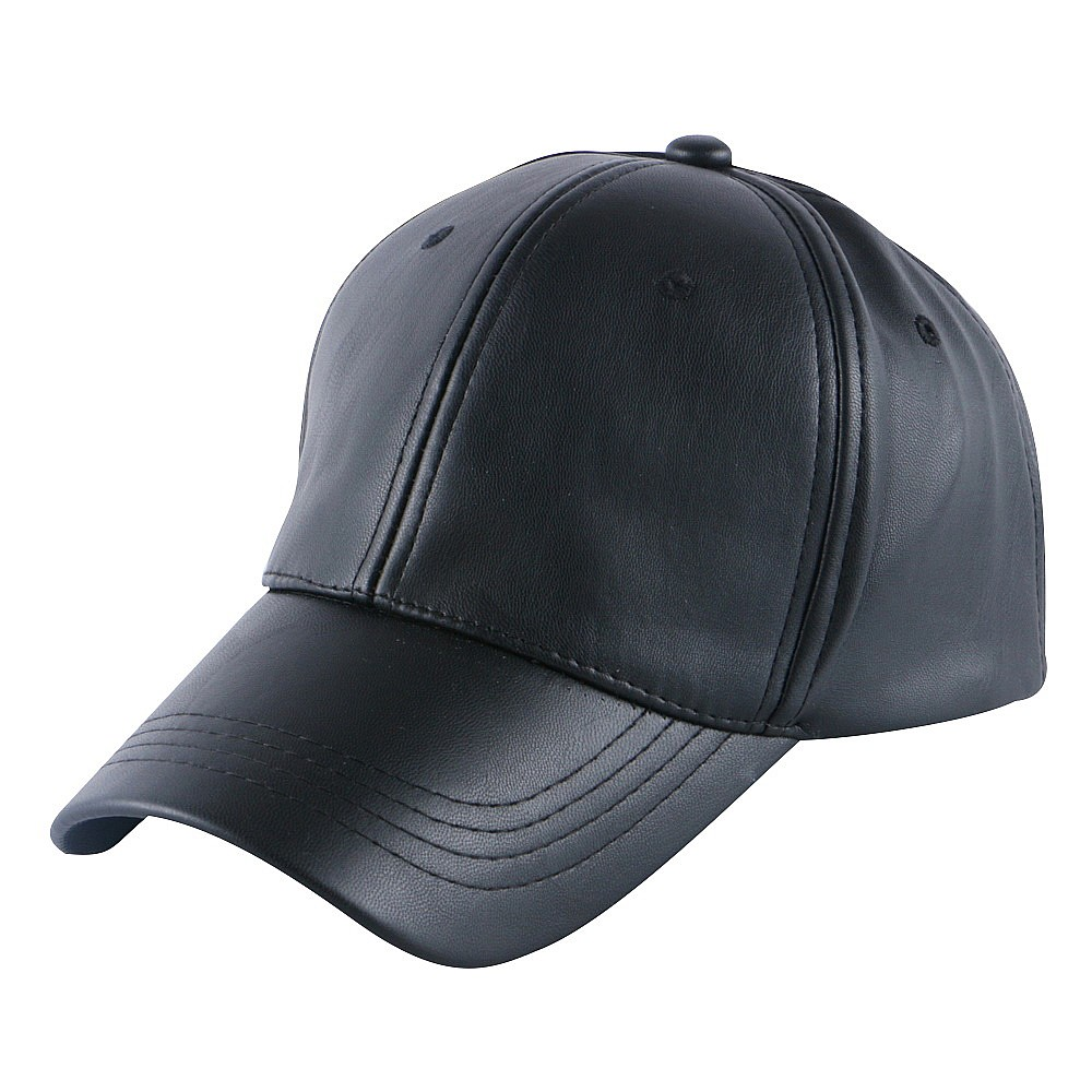 hot wholesale men women brand snapback hat cap Best quality Pu leather solid color casual baseball cap girl boy casquette gorras