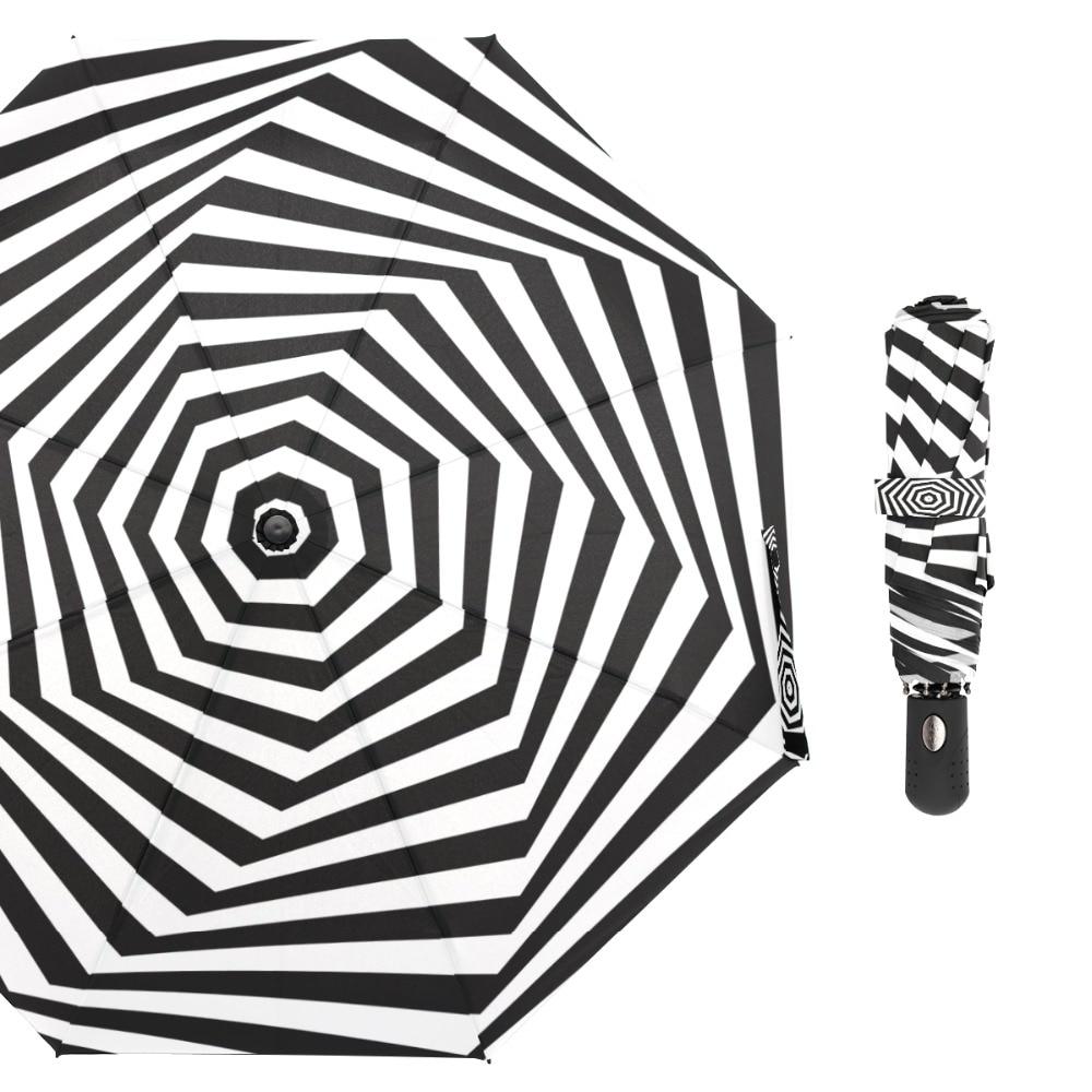 Susino A Spirale Nero Bianco Antivento Ombrelli Completamente automatico di Apertura In Metallo Tessuto di Seta Naturale Compatto A tre Ombrello pieghevoleSusino A Spirale Nero Bianco Antivento Ombrelli Completamente automatico di Apertura In Metallo Tessuto di Seta Naturale Compatto A tre Ombrello pieghevole