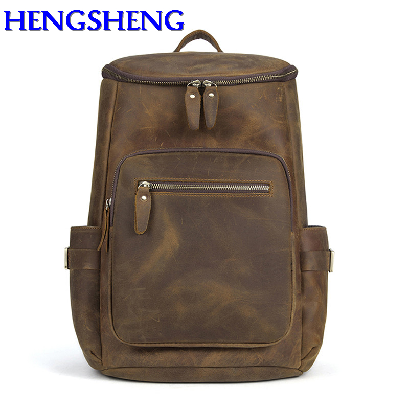 Men's Bags Hengsheng Cray Hose Brown Genuine Leather Men Backpacks With Top Quality Cow Layer Leather Man Backpack For Vintage Backpack