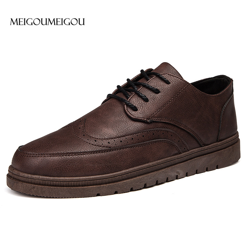 MEIGOUMEIGOU Fashion Brand Men's Business Dress Brogue Shoes For Wedding Party Retro Leather Black Brown Round Toe Oxford Shoes