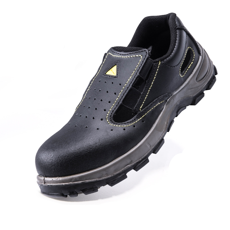 ФОТО Men's Summer 2017 Black Steel Toe Genuine Leather Antislip Breathable Industry Chemical Electrician Safety Boots Shoes