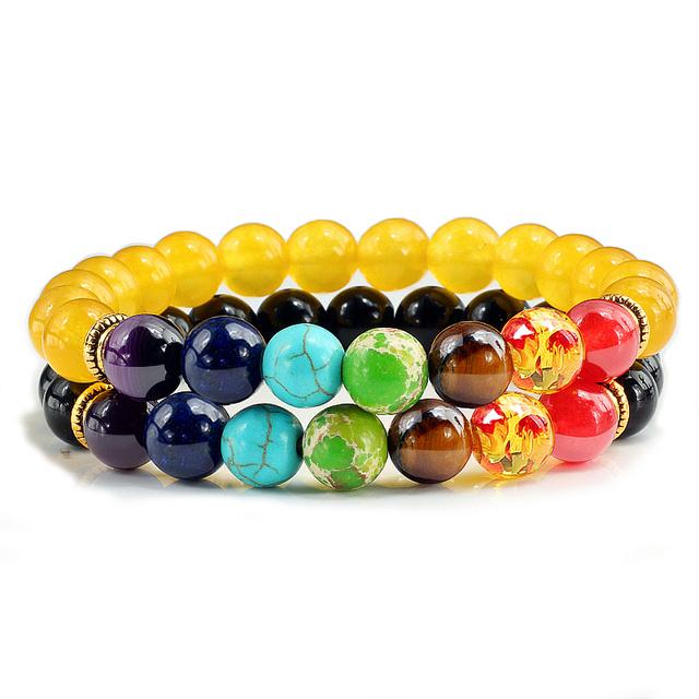 de Chakra 2 unids/set 7 pulsera  unisex equilibrio Buda Reiki oración Tigre ojos negro Piedra Natural hilo de Yoga