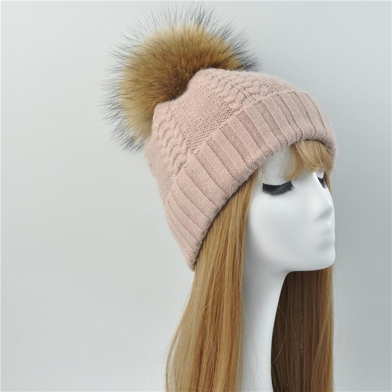 22185dfc5fdd8a ... Winter Real Raccoon Fur Pom Pom Hat Women Ladies Wool Knitted Cap With  Big Fluffy Fur ...