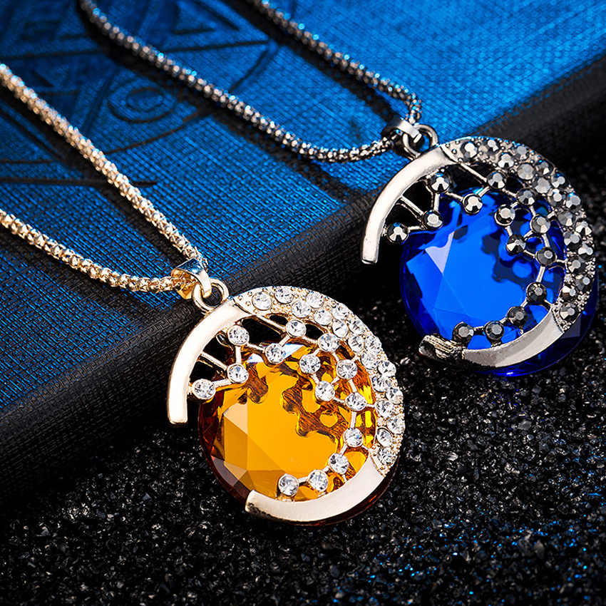 Collares Moon stars Pendant Necklaces Sweater Chain Blue Gem Rhinestone Crystal Necklace Long Tassel Necklace CS913