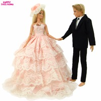 Fashion Pink Wedding Dress Lace Gown With Veil For Barbie Doll Formal Black Suit Tuxedo Shirt