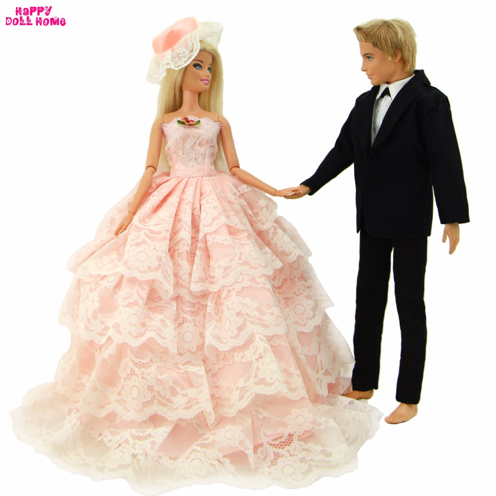 Barbie Pink Wedding Dresses: Fashion Pink Wedding Dress Lace Gown With Veil For Barbie