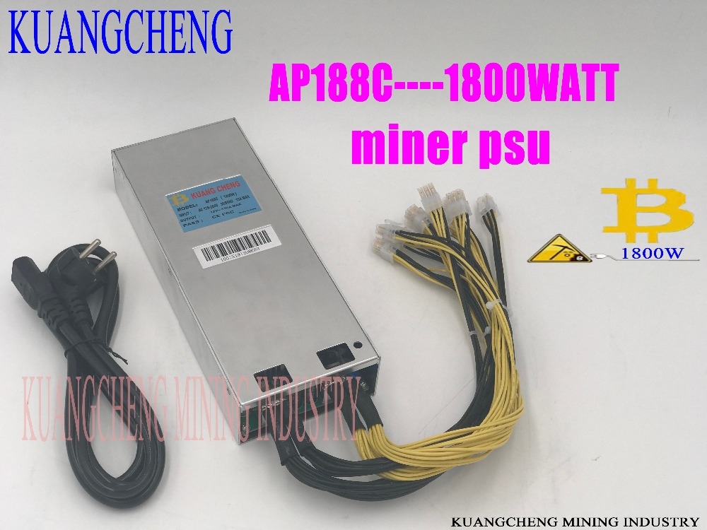 ASIC Miner BTC LTC Miner Power AP188c1800W 12V Powr Supply 6pin High Conversion For AntminerS9 D3 A3 V9 Etc.