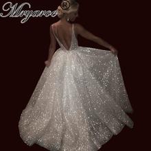 Mryarce Luxury Blingbling Open Back Fairytale Wedding Dress Sexy V Neck Sleeveless Sparkling Dresses Formal Events