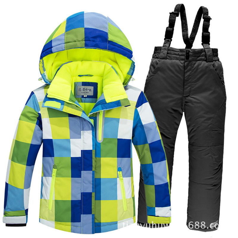 30 Degree Winter Children Outerwear Warm Thicken Coat Sporty Snow Ski Suit Sets Waterproof Windproof