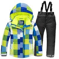 30 Degree Winter Children Outerwear Warm Thicken Coat Sporty Snow Ski Suit Sets Waterproof Windproof