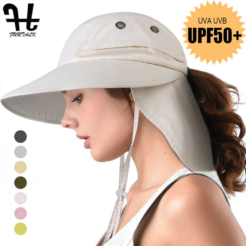 0e5a6ca0b FURTALK Summer Sun Hat with Neck Flap Women Men Wide Brim Waterproof UPF  50+ UV Protection Visor Hat Hiking Ponytail Safari Hats