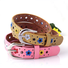 New girls belt Colorful flower butterfly hollow childrens casual pin buckle pink white blue yellow red black brown