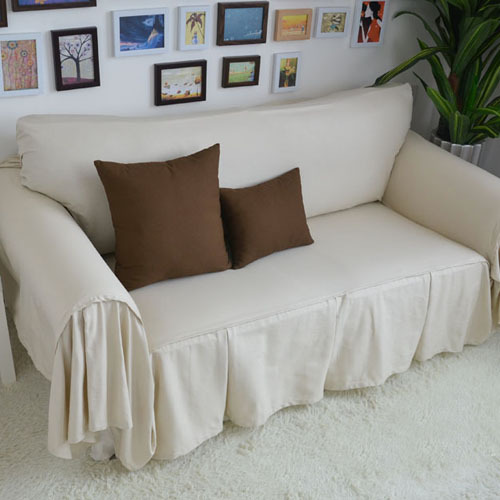 Decorative Sofa Cover Sectional Modern Slipcover Beige Cotton Fabric Forthe Simple Sets 200 260 In From Home Garden On