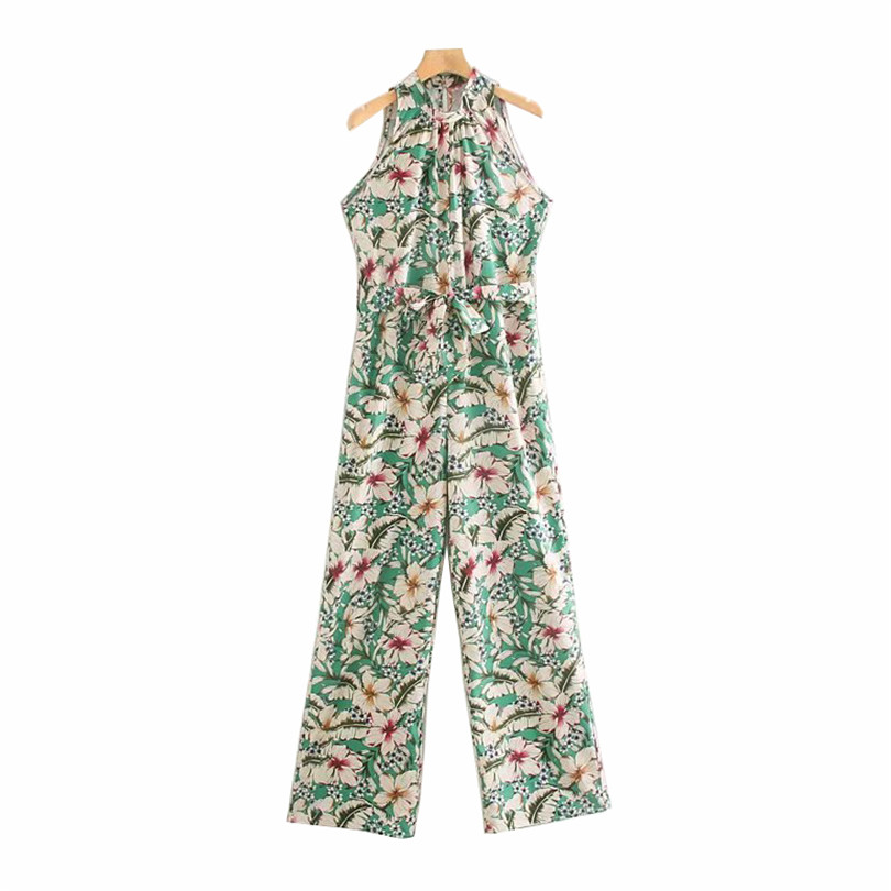 vintage floral print halter collar   jumpsuits   bow tie sashes pleated fashion rompers female 2019 summer casual playsuits