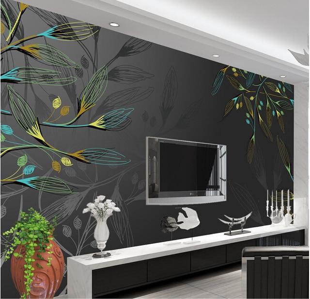 € 13.21 49% de réduction|Personnalisé 3D grand mural, contemporain et  contracté feuilles motif fond mur, salon canapé TV mur chambre papier ...