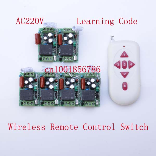 220V 6CH Radio RF Wireless Remote Control Switch 6Receiver& transmitter Learning Code 315/433Mhz mini size 220v 30a wireless remote control switch receiver transmitter 315 433mhz