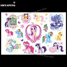 SHNAPIGN My Little Pony Toy Child Temporary Tattoo Body Art Flash Tattoo Stickers 17x10cm Waterproof Henna Styling Sticker