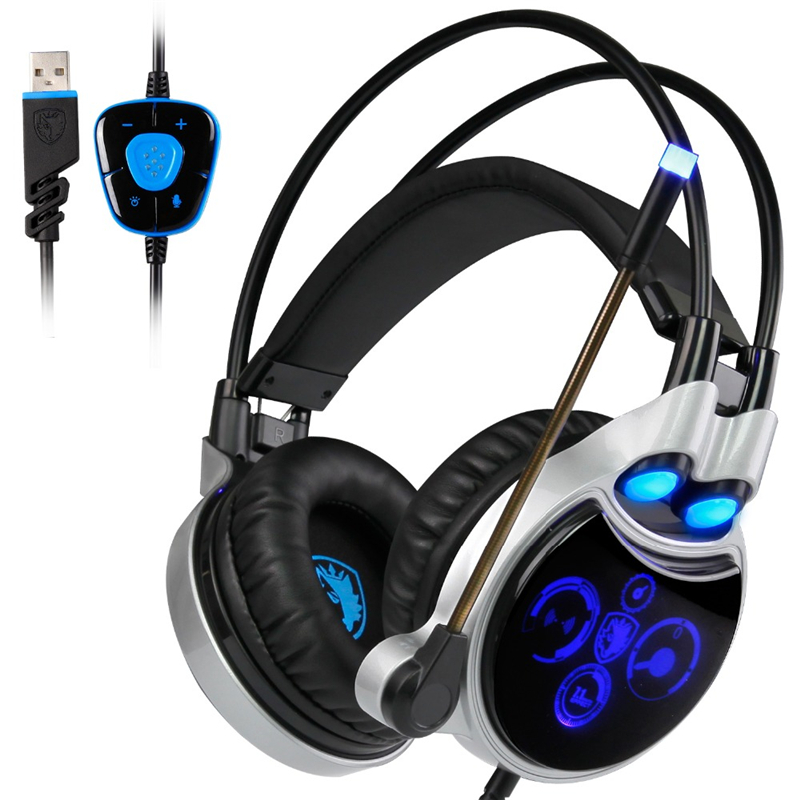 SADES R8 Gaming Headset Virtual USB 7.1 Sound Channel Wired Over-Ear Headphones with Mic LED Light for LOL WOW CF CS DOTA