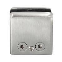 LHLL 4Pcs Stainless Steel Square Clamp Holder Bracket Clip For Glass Shelf Handrails Silver