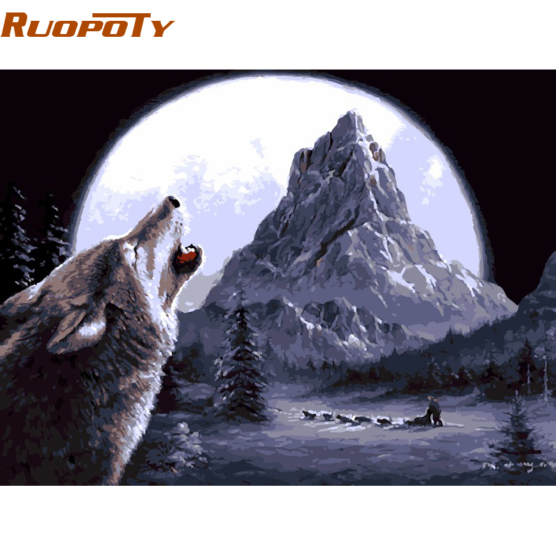 RUOPOTY Diy Frame Wild Wolf Animals DIY Painting By Numbers Kits Coloring Paint By Numbers Modern Wall Art Picture For Home
