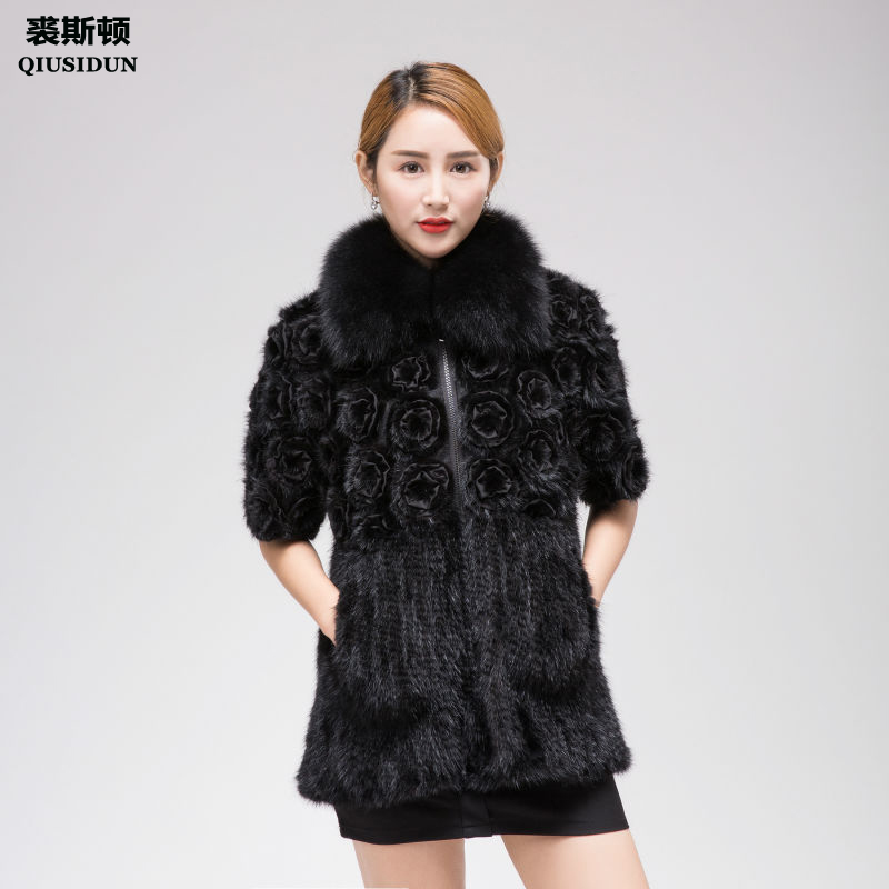 QIUSIDUN Mink Knitting Fur Coat Woman Winter warm Real Fur Coat Natural  Fox Fur Collar Fashion Slim Fit Garment Large Size 6XL