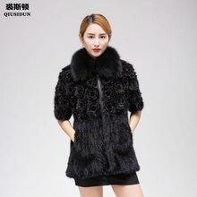Real Mink knitting fur coat woman Winter warm knittin fox collar Fashion Slim Fit Garment Large size L-4XL with flowers