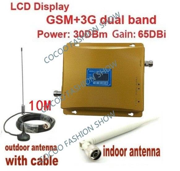 1 ensembles LCD affichage double bande 3G W-CDMA 2100 MHz + GSM 900 Mhz amplificateur de répéteur de Signal de téléphone portable Booster