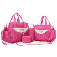 5pcs/Set Baby Diaper Bag Women Travel Bag Stroller Bag Organizer Large Capacity Travel Handbag Female Portable Tote Travel Bags