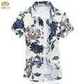 Супер Большой Размер Цветочные Национальный Стиль Сорочка Homme 7XL 6XL Brand Clothing Хлопок Camisa Masculina Гавайские Рубашки Мужчины 2017 Новый