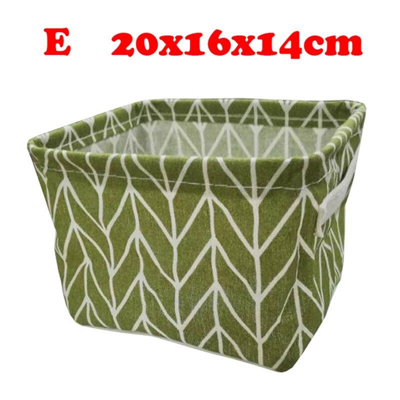 Настольный ящик для хранения с милым принтом, водонепроницаемый органайзер, хлопок, лен, корзина для хранения мелочей, шкаф, нижнее белье, сумка для хранения - Цвет: E